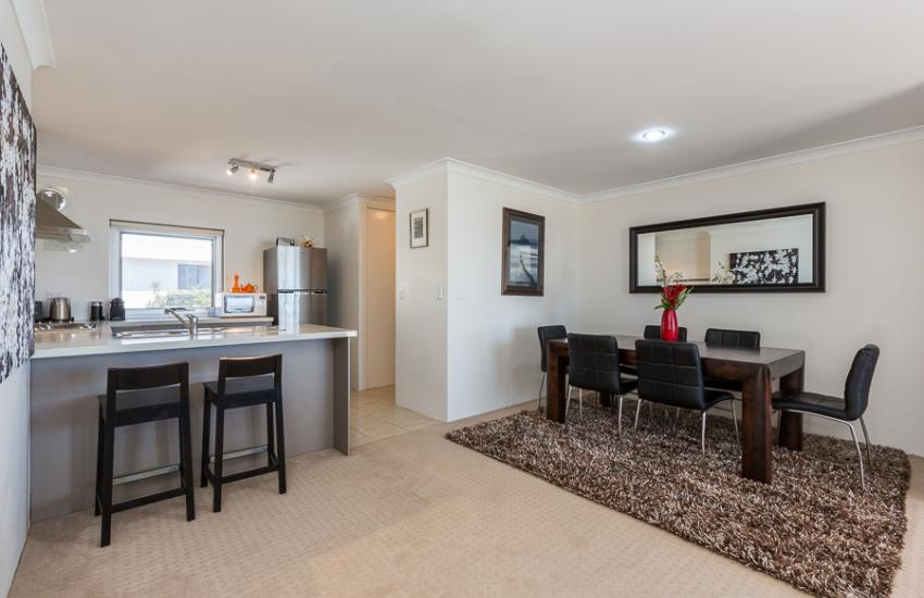 Golden Sands Beach Apartment - Dining Area - holiday accommodation rentals for short  term stays in Perth