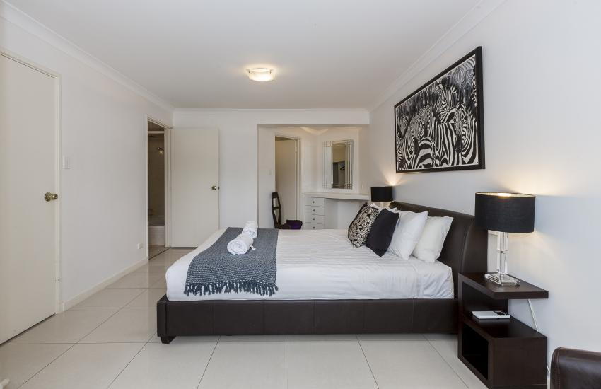 The Cove Beach Apartment - Master Bedroom - Cottesloe Short Stay Accommodation
