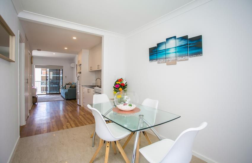 Scarborough Seaside Apartment 217 - Dining Table - Short term accommodation in Perth Western Australia
