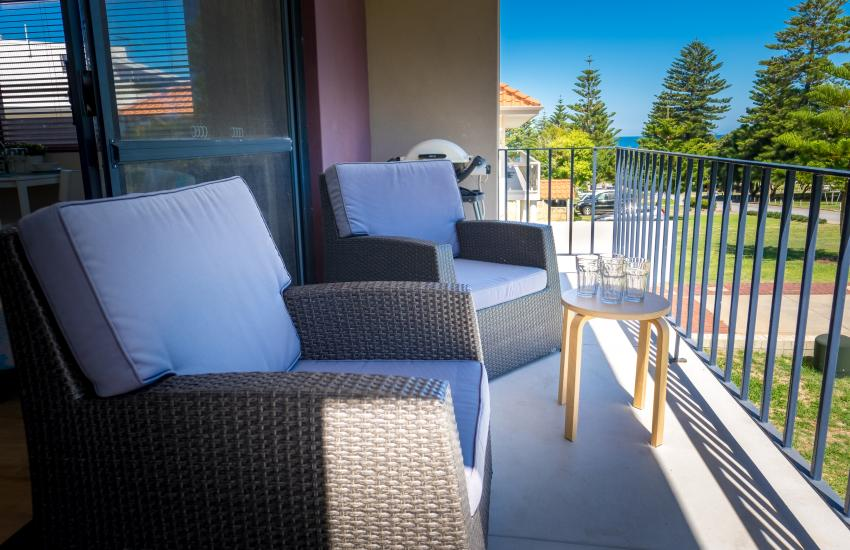 Cottesloe Beach on Napier - Balcony View - Cottesloe Fully Furnished Accommodation, Perth Western Australia